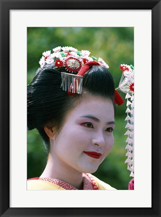 Framed Japanese Geisha Close Up Print