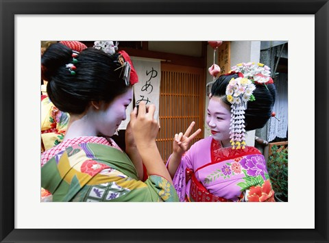 Framed Geishas Photographing Each Other Print