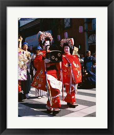 Framed Group of geishas, Kyoto, Honshu, Japan Print
