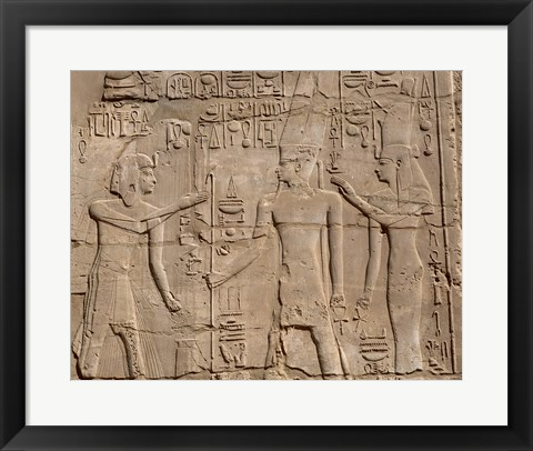Framed Ramses II in front of Amun and Sethi I, Luxor Temple, Aswan, Egypt Print