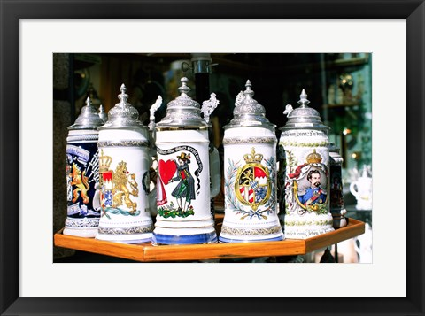 Framed Group of beer steins on a table, Munich, Germany Print