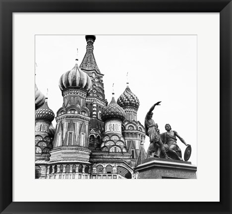 Framed Monument of Minin and Pozharsky St. Basil's Cathedral Moscow Russia Print