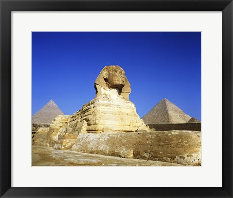 Framed Great Sphinx and pyramids, Giza, Egypt Print