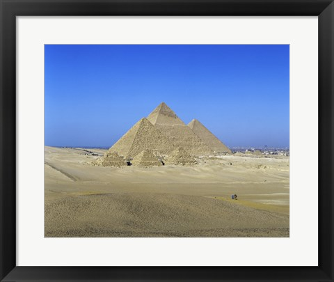 Framed Giza Pyramids, Giza, Egypt (far view) Print