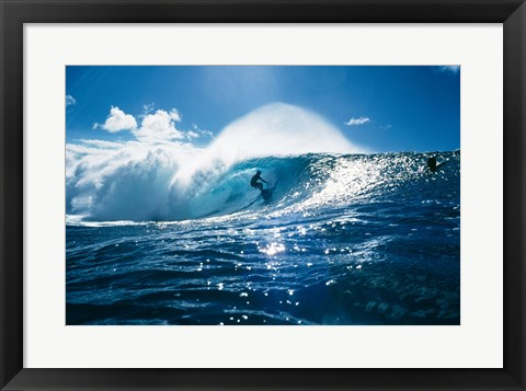 Framed Surfer on the ocean Print