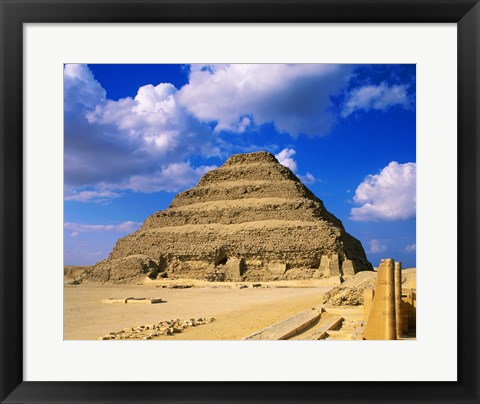 Framed Step Pyramid of Zoser, Saqqara, Egypt Print