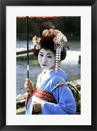 Framed Geisha looking sideways, Kyoto, Japan Print