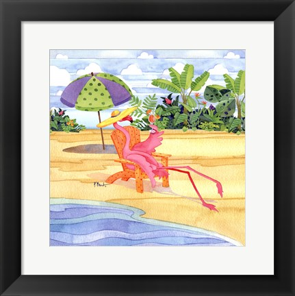 Framed Beach Chair Flamingo Print