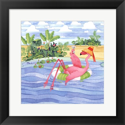Framed Martini Float Flamingo Print