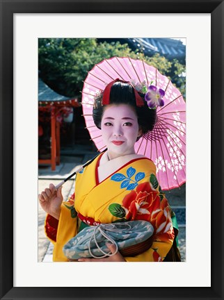 Framed Geisha with Pink Umbrella Print