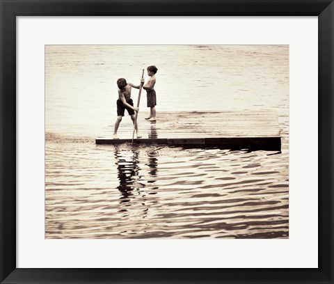 Framed Two boys standing on a wooden platform in a lake Print