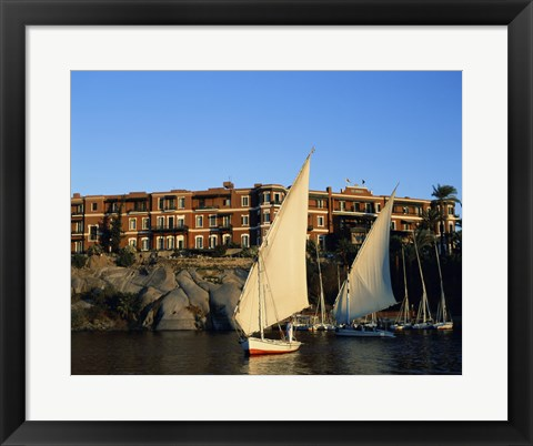Framed Sailboats in a river, Old Cataract Hotel, Aswan, Egypt Print