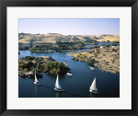 Framed Sailboats In A River, Nile River, Aswan, Egypt Landscape Print