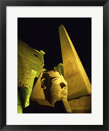 Framed Statue at night, Temple of Luxor, Luxor, Egypt Print