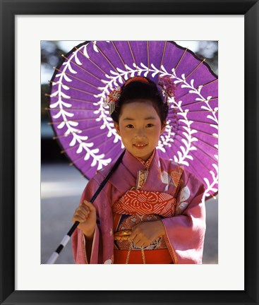 Framed Portrait of a girl holding a parasol, Shichi Go San, Japan Print