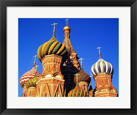 Framed High section view of a cathedral, St. Basil's Cathedral, Moscow, Russia Print