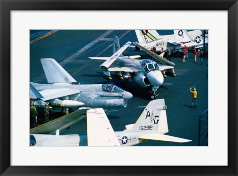 Framed Flight Operations USS Eisenhower Aircraft Carrier Print