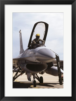 Framed U.S. Air Force  F-16 Falcon Jet Fighter Print