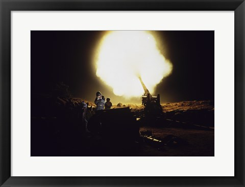 Framed M198 Towed Howitzer Night Fire Print