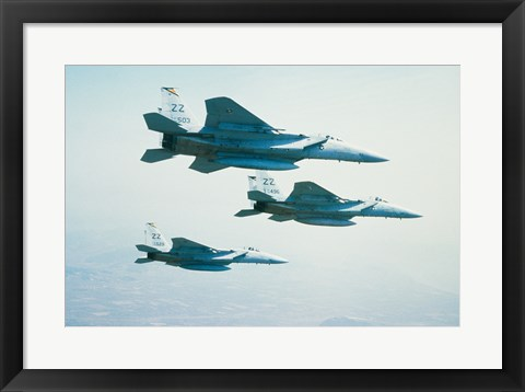 Framed Three F-15 Eagle fighter planes flying in formation Print