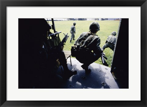 Framed UH-1H, Troops Dismounting from Helicopters Print