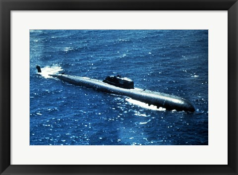 Framed Soviet Victor 1 Class Nuclear-Powered Attack Submarine Print