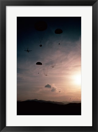 Framed Supplies being dropped from C-141B Starlifters Print