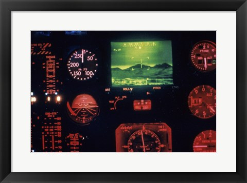 Framed View of the Cockpit Control Panel in an AH-64 Apache Helicopter Training Simulator Print