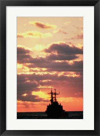 Framed Silhouette of the USS Deyo Print