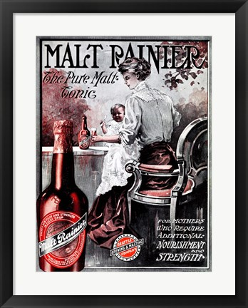 Framed Malt Rainier Beer Print