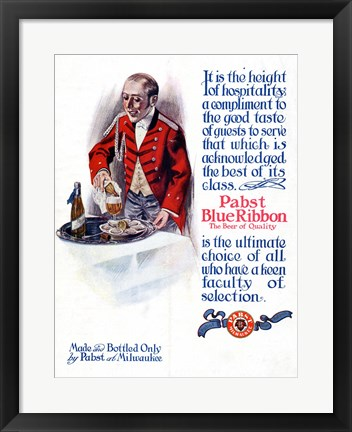 Framed Pabst Blue Ribbon Beer 1911 Print
