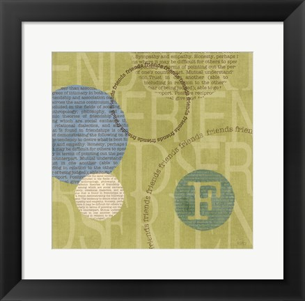 Framed Circle of Words - Friends Print