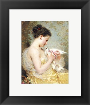 Framed Beauty with Doves Print