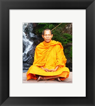 Framed Abbot of Watkungtaphao in Phu Soidao Waterfall Print
