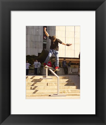 Framed Skateboarder On Stairs Print