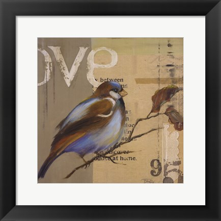 Framed Blue Love Birds II Print