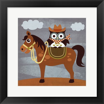 Framed Cowboy Owl on Horse Print
