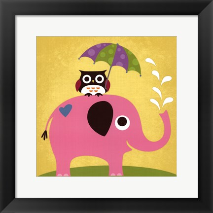Framed Elephant and Owl with Umbrella Print
