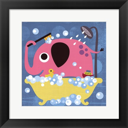 Framed Elephant in Bathtub Print