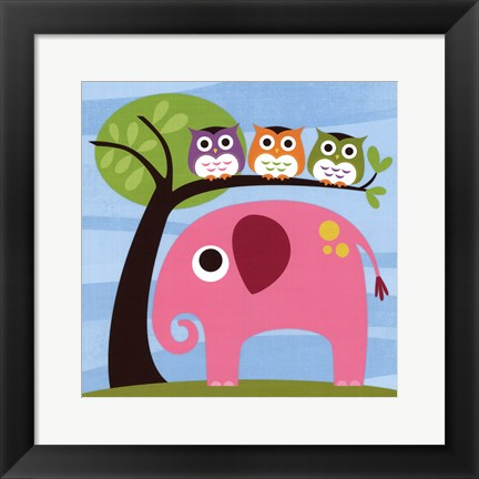 Framed Elephant with Three Owls Print