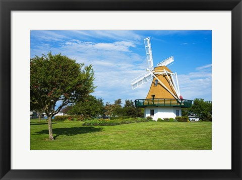 Framed Traditional windmill in a field, City Beach Park, Oak Harbor, Whidbey Island, Island County, Washington State, USA Print