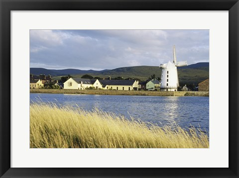 Framed Traditional windmill along a river, Blennerville Windmill, Tralee, County Kerry, Ireland Print