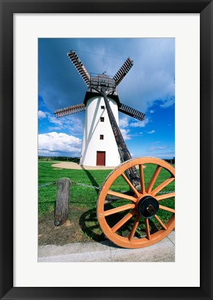 Framed Low angle view of a traditional windmill, Skerries Mills Museum, Ireland (with a wheel) Print