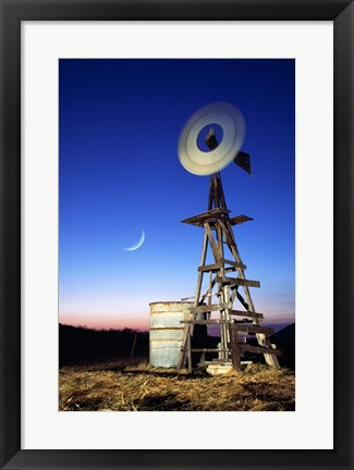 Framed Industrial windmill at night, California, USA Print
