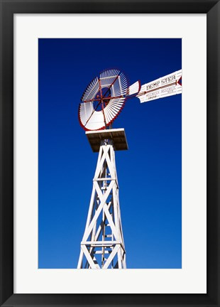 Framed Red and White Windmill from Below Print