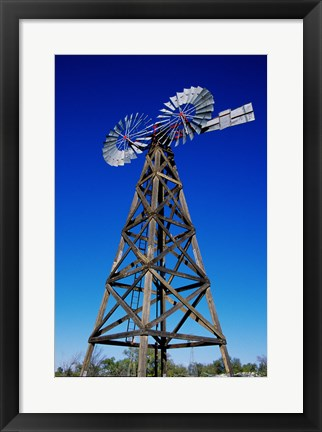 Framed Low angle view of a windmill at American Wind Power Center, Lubbock, Texas, USA Print