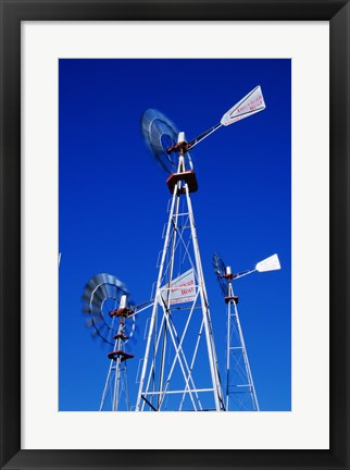 Framed Low angle windmill at American Wind Power Center, Lubbock, Texas, USA Print