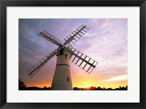 Framed Boats moored near a traditional windmill, Horsey Windpump, Horsey, Norfolk Broads, Norfolk, England Print