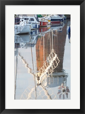 Framed Reflection of drainage windmill in the river, Horsey Windpump, Horsey, Norfolk, East Anglia, England Print