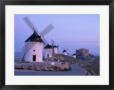 Framed Windmills, La Mancha, Consuegra, Castilla-La Mancha, Spain In Blue Light Print